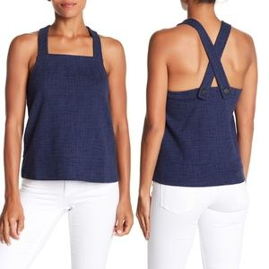 NWT Madewell Textured Knit Apron Tank Top Navy